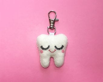 Tooth Keychain - Sweet Tooth Charm - Dental Student Gift - Tooth Charm - Dentist Gift - Dental Hygienist Gift - Dental Graduation Gift