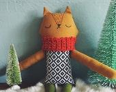 Cloth fox doll, stuffed toy, handmade fox plushie, fox plush doll, heriloom doll, christmas gift for kids, gifts under 100,