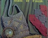 Vintage 1971 macrame pattern book MACRAME START to FINISH purses handbags necklaces rug bracelet wall hanging