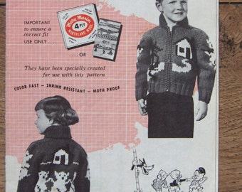 Vintage 1956 Mary Maxim Graph Style Knitting pattern 475 Three Little Pigs sz 4 and 6 boy girl fairy tale