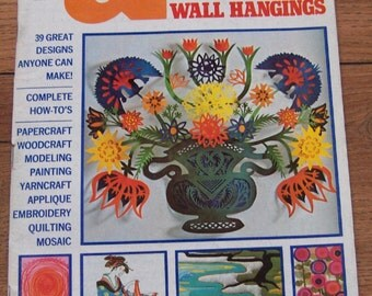 vintage 60s 70s McCAlls needlework and crafts patterns for pictures and wall hangings papercraft, yarncraft applique embroidery quilting +