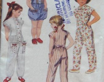 vintage 1990 McCAlls pattern 4693 children girls jumpsuit and romper sz 5 uncut
