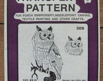 Vintage 80s Embroidery transfers 309 OWL uncut 5 x 5, 8 x 15