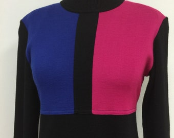 Color Blocked Knit Dress - 1980s Vintage - Wool Blend Midi - Work School Dress - Fall Winter - Pink Blue Black - Stretch Wool Knit - 36 Bust