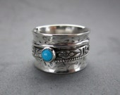 Sleeping Beauty Turquoise Spinner Ring Fidget Worry Ring Sterling Silver, size 6 (5.5)