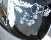 roller derby car decal, car decal for woman, roller skating sticker, street skating, bowls, FREE SHIPPING