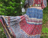 size 2x French Bastille Day style Peasant dress, cotton gauzey, breezy dress, plus size 2x, bohemian maxi dress, made in India Indian dress
