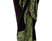 Beach Sarong Swimsuit Coverup Batik Mens or Womens Clothing Beach Sarong Pareo Wrap Skirt - Black & Green Batik Sarong - Elegant Beachwear
