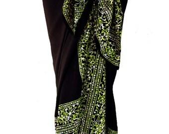 Beach Sarong Batik Womens or Mens Clothing Beach Sarong Pareo Wrap - Black & Green Batik Sarong Swimsuit Coverup - Elegant Beachwear