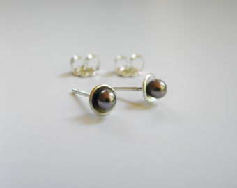 Tiny Black Freshwater Pearl in Cupped Sterling Post Earrings