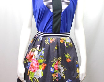 Floral print womens skirt in mixed prints with pockets // Spring skirt