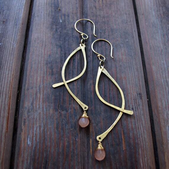 Swoops - Brass and Peach Moonstone Metalwork Earrings - Semi-precious stones - Long Lightweight Earrings - Rustic Earrings