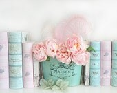 Dreamy Peonies Flower Photography, Shabby Chic Decor, Pink Peonies Books Print, Pink Aqua Teal Peonies Floral Decor, Baby Girl Nursery Decor