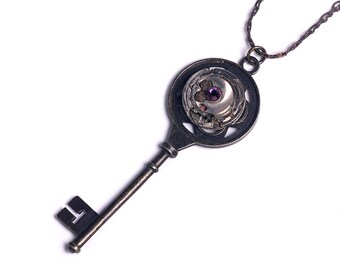 Steampunk Antique Watch Movement n Amethyst Crystal Key Necklace