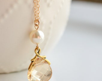 Bridesmaid Jewelry Crystal and Pearl Wedding Necklace Savannah Gold