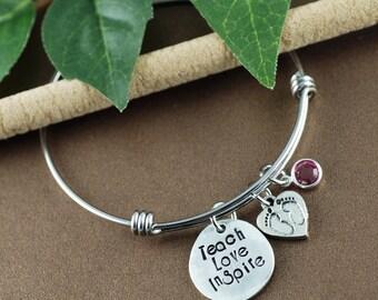 Teach Love Inspire Bracelet   Thank you gift for Teacher   Gift for Teacher   Teacher Appreciation   Teacher Gift   Gift for Educator