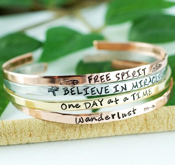 Inspirational Cuff Bracelet, Mantra Bracelets, Stackable Cuff Bracelets, Silver Cuff Bracelet, Personalized Cuff Bracelet, Skinny Cuffs