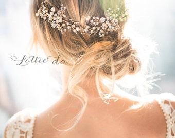 Gold Boho Hair Halo, Bridal Pearl Flower Hair Crown, Hair Vine, Hair Wreath, Wedding Pearl Hair Vine, Boho Wedding Headpiece - 'ZINNIA'