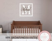 ON SALE Double Square Initial and Name Monogram - Wall Decal for Girl or Boy Teen with Simple Modern Square Frame Border FN0568