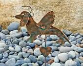 Dachshund Dog Garden Stake / Pet Memorial /Angel Dog / Grave Marker / Metal Art / Copper Garden Art / Wiener Dog / Dachshund Sculpture