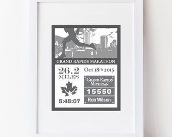 Grand Rapids Marathon, 26.2,  Typography Custom DIY Digital Print