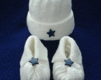 Baby Hat and Booties - White