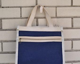 70s navy blue purse, vintage Joseph Horne Co, 1970s preppy canvas handbag