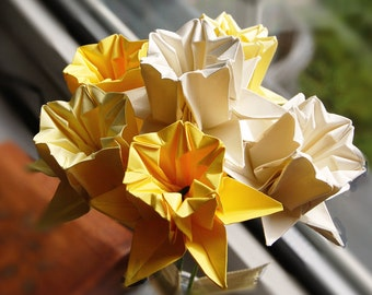 6 Origami Paper Daffodils ~Artificial Flowers ~Yellow & Cream ~Paper Flowers ~Spring ~Mothers Day ~Easter ~Wales ~St Davids Day