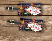 Personalized Luggage Tags Las Vegas At Night On the Strip Sign - Full Metal Tags - Printed Address, text or quote on Back
