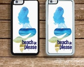 iPhone 6S or 6 PLUS  Phone Case Watercolor Mermaid Beach Please Your Trim Choice Hard , Rubber or Tough Cases Funny