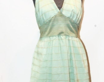 OOAK Vintage Inspired Mint Green and Gold Halter Dress Mint Green High Low Dress Mint Green Summer Dress Mint Green and Gold Dress