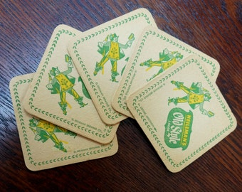 Vintage Beer Coasters Heilemans Old Style Lager LaCrosse WI Yellow Green Square Coasters Set of Five Unused 1950s