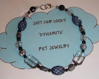 Dog Cat Pet Necklace Jewelry - Pet Necklace - Black White Beaded Pet Necklace - Just For Looks Dynamite Pet Jewelry