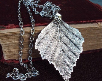 Vintage Style Silver Leaf Pendant Necklace Long Chain Large Antiqued Skeleton Leaf Boho Bohemian Chic Layering Necklace Dipped Style Ethnic