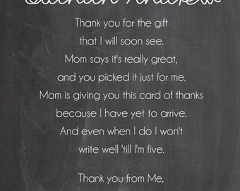 Chalkboard Moustache Baby Shower Thank You Card - You Print - 4x6 or 5x7