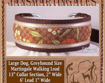 Jansmartingales, Brown Walking Lead, Collar and Lead Combination, Greyhound, Large Dog Size, Brn123