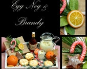 Luxury Christmas Egg Nog & Brandy, Mince Pies Tray - Artisan fully Handmade Miniature in 12th scale. From After Dark miniatures.