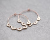 Boho Hoop Earrings Rose Gold Brass Scalloped Edge Hoops Modern Jewelry Bohemian style
