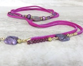 Suede Wrap Necklace//Boho Wrap Necklace//Extra Long Triple Wrap Necklace Beaded with Purple Amethyst & Fuchsia Suede February Birthstone 75""