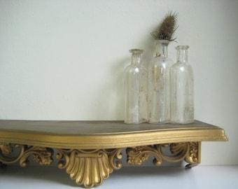 Vintage hollywood regency decorative ornate victorian floral gold wall display shelf ledge