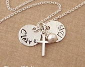TINY Name, Date, Cross, Necklace - Baptism for girls - Goddaughter gift - Christian wedding flower girl - Photo NOT actual size