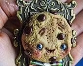 SALE!! -  Evaristo - necklace cookie pendant  - art doll ooak pure sculpt tea party  jewelry cookie doll fantasy friend pet