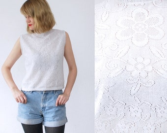 SALE...60s crop top. 60s knit top. white sparkle top. pointelle top - small