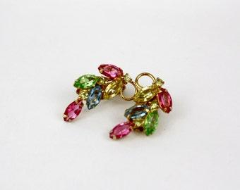 Vinage 60s Jewel Earrings Colorful Glass Navettes w Goldtone Metal Clip on Back Earrings