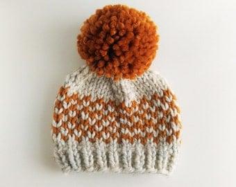 Hat Knitting Pattern // Chunky Pom Pom Hat // Fair Isle Hat Pattern // Toddler hat pattern // Newborn hat pattern