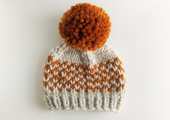 Knit Pom Pom Hat Pattern : Hat Knitting Pattern // Chunky Pom Pom Hat // Fair Isle Hat