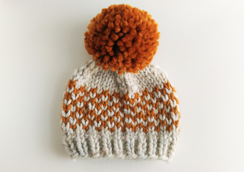Hat Knitting Pattern // Chunky Pom Pom Hat // Fair Isle Hat