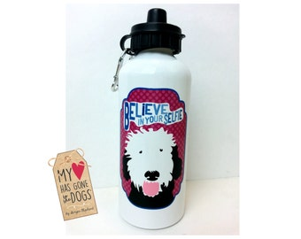 Believe In Your Selfie, Dog Water Bottle, Aluminum Water Bottle, Travel Bottle, Thermos, Dog Art, Portuguese Water Dog, Funny Dog Art