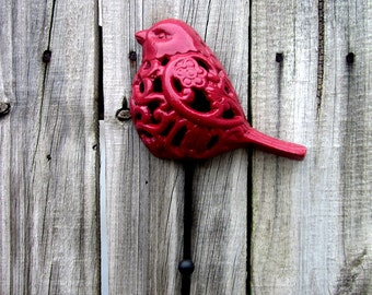 Red Bird Hook, Decorative Hook, Cast Iron, Wall Decor, Entryway Hook, Kitchen Hook, Key Hook, Coat Hook, Ornate Hook, Filigree Bird Hook