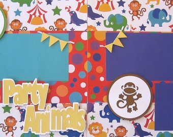 Scrapbooking Layouts Pages Kit Premade Party Kids Carnival Animals Zoo Circus